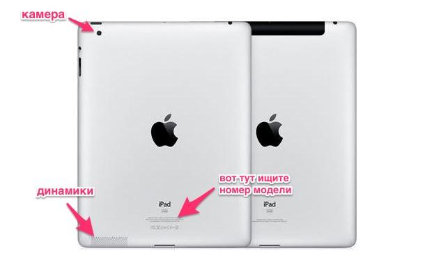 Giữa chúng, các biến thể khác nhau có thể được phân biệt bằng mã mô hình.  Mã này có thể được tìm thấy ở mặt sau của iPad ở cuối, ...